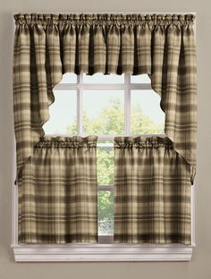 Dawson is a printed large scale plaid pattern semi sheer, enhance the appearance of your kitchen decor with the stylish plaid Curtains.  #Cafe #Tiers #Curtains