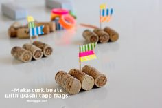 Cork boat races (kid's craft) @Kami | NoBiggie.net   What a great way to recycle items and have a fun summer activity similar to a rain gutter regatta.