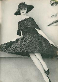 1960s Vogue black lace dress...beautiful.. #60s #retro #vintage