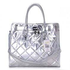 Michael Kors Hamilton,Michael Kors Hamilton Large Leather Silver Sale-154