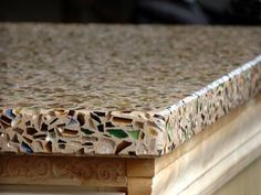 Recycled glass counter top.. Love this. :)
