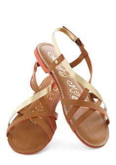 Furnish Your Portfolio Sandal in Tan - Faux Leather, Tan, Gold, Solid, Cutout, Strappy, Casual, Daytime Party, Beach/Resort, Summer, Flat, Variation