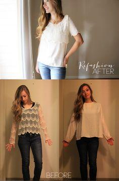 lace shirt, lace scallop, scallop shirt