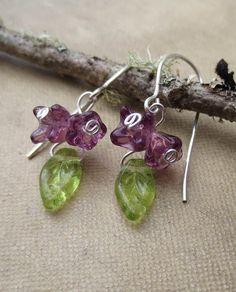 Little Lilac Cluster Purple Glass Flower by nicholasandfelice, $14.50