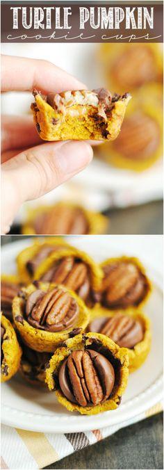 Turtle Pumpkin Cookie Cups