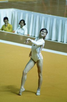Nadia Comaneci, Romania, in her routine for floor exercises at the Montreal Olympics, 1976.