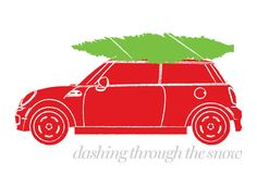 Red Mini Cooper with Christmas Tree on Roof Holiday Greeting Card - Dashing through the snow