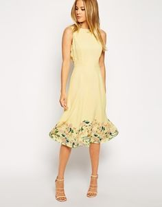 ASOS yellow midi bridesmaids dress