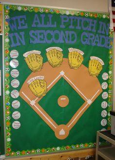 Sports bulletin board idea - great for my baseball classroom economy!