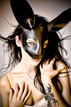 Rabbit leather mask in black