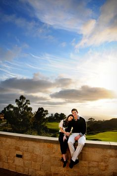 Enjoying their recent engagement and the beautiful scenery at The Resort | www.pelicanhill.com |The Resort at Pelican Hill, Newport Beach, CA | #pelicanhill #memories