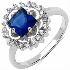 3.60 Grams Blue & White Cubic Zircon .925 Sterling Silver Ring