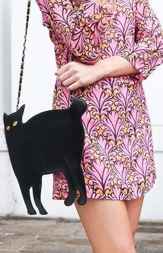 Print dress and cat bag x