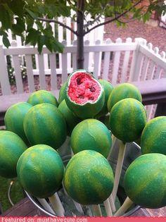 watermelon cake pops...CUTE!