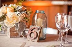 table settings, event planning, centerpiec, rustic table, wood tables, candl, wooden tables, mason jars, table numbers