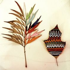 Painted dried leaves.