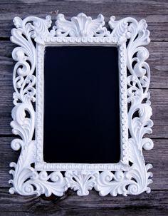 framed chalkboard..love the black against white!