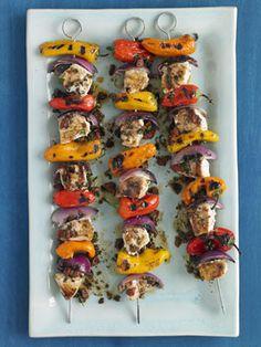 grilled swordfish kebabs with parsley olive salsa