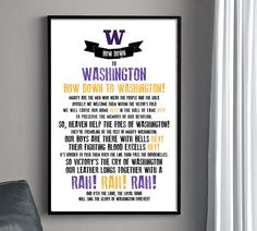 UW HUSKIES Fight Song Poster. $22.00, via Etsy. Was this made for Jason?