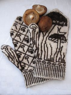 CUTE MITTENS!!  Knit slug and mushroom mitten pattern.  If only I knew how to knit.