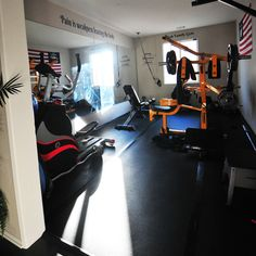 """""""Pain is weakness leaving the body"""" - we think so too! Check out this happy RubberFlooringInc customer's complete home gym idea"""