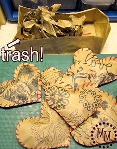 Paper Hearts from recycling paper bags