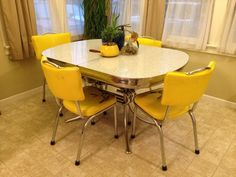 Vintage 1950's Classic Chrome & Formica Ornate Dining Room Table & Chairs | eBay