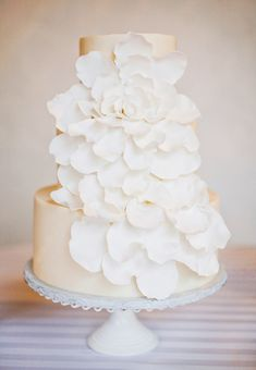 White ruffle wedding cake. Baked with love by Sugar Bee Sweets @sugarbeesweets