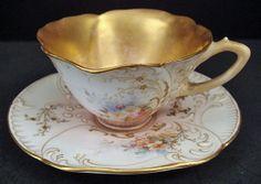 Doulton Burslem Demitasse Cup & Saucer.  Late 1800s