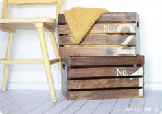 Vintage Numbered Wood Crates:  For my Sunflower Crate