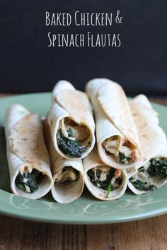 Chicken Spinach Baked Flautas Baked Chicken & Spinach Flautas