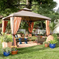 instant outdoor room, with portable gazebo, fabric, lighting, rug and furniture... garden party Landscapes Ideas, Outdoor Living, Outdoor Rooms, Area Rugs, Backyards Ideas Gazebo, Outdoor Retreat, Backyards Gazebo Ideas, Outdoor Gazebo, Easy Outdoor