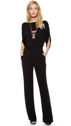 DVF | Fall Black Jumpsuit Strands of Pearls instead of that necklace