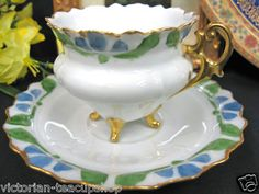 Ohme Silesia Teacup 3 Footed Demi Tea Cup and Saucer