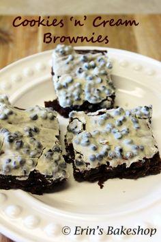 Cookies 'n' Cream Brownies: moist chocolate brownies topped with melted Hershey's Cookies 'n' Cream bars!
