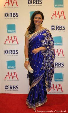 June, 14: Lawyer Miriam GD Clegg, wife of UK's Deputy PM Nick Clegg in an exquisite Blue http://shop.AnitaDongre.com/ #Saree w/ Gota Patti Embroidery at Asian Women Achievement Awards