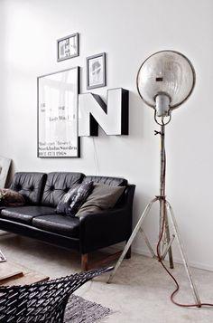 decor, floor lamps, living rooms, big letters, couch, industrial design, vintage industrial, light, grey interior