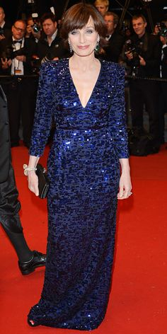 Kristin Scott Thomas in a midnight blue Armani Privé in Cannes 2013