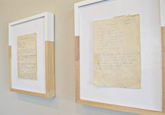 Frame something sentimental and display it as art | displayed here are old, handwritten family recipes