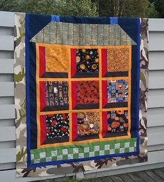 House with attic windows, Halloween quilt top, at Quilt in a not-Shell