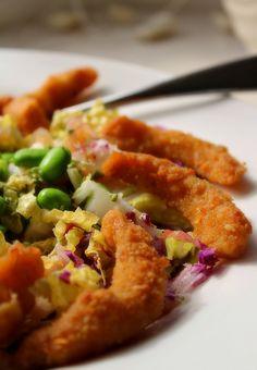 """Wasabi """"Shrimp"""" with Asian Slaw"""