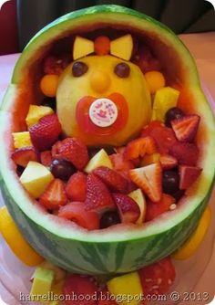 Baby shower brunch ideas-- fruit baby in a watermelon carriage