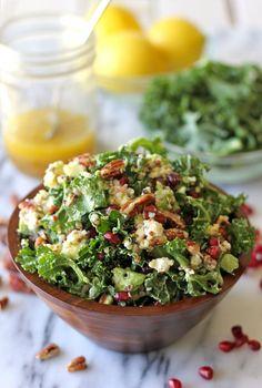 dinner, light lunches, avocado, meyer lemon, pecan, quinoa, lemon vinaigrett, kale salad, goat cheese