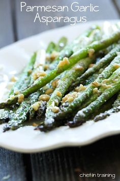 Parmesan Garlic Asparagus from chef-in-training.com ...My favorite way to eat asparagus! Very few ingredients, yet super flavorful and delicious! @nikki striefler {chef-in-training.com}