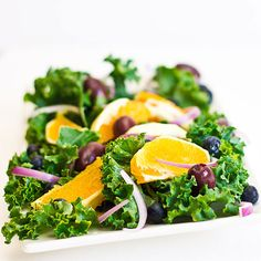 Kale Salad with Oranges, Blueberries, Red Onions and Olives