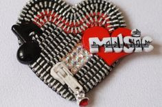 Music Lover  Red and Black Vintage Zippper Lapel by ZipperedHeart, $18.00
