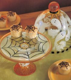 Super-easy to do! Painted spiderweb cake plate and ghost dome by Carin Heiden Atkins.