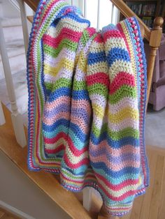 """""""Spring Time"""" another Attic24 ripple throw made by Teacup Lane - like the edging for a ripple.  #crochet #afghan #blanket"""