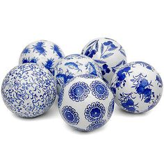 Set of 6 Blue and Wh