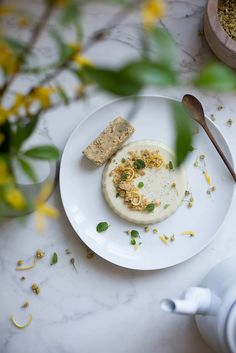 chamomile panna cotta with lemon, poppy seed, and olive oil shortbread by Beth Kirby | {local milk}, via Flickr